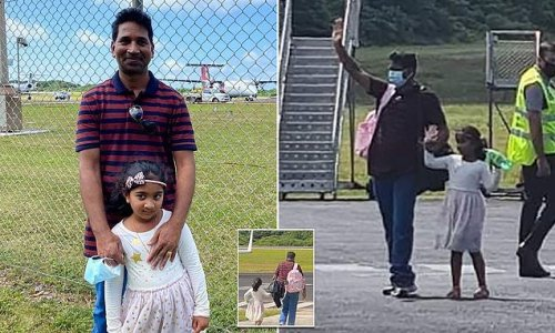 Emotional moment Sri Lankan family board plane out of Christmas Island