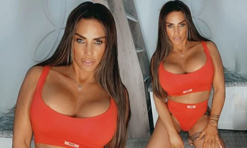 Katie Price puts on a busty display in sizzling red underwear