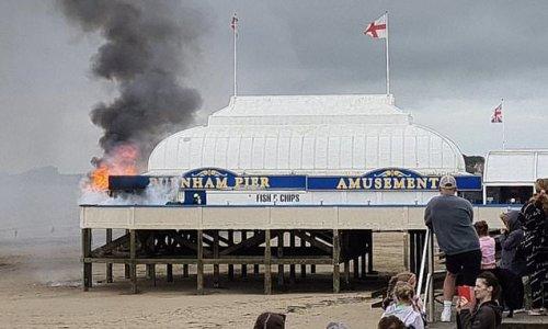 Fire tears through Britain's shortest pier at Burnham-on-Sea