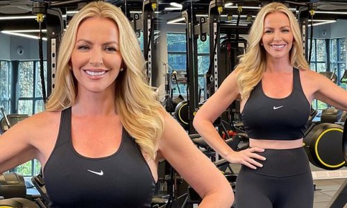 Michelle Mone showcases her athletic figure in leggings and sports bra