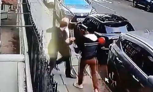Disgusting moment two thugs violently mug elderly man in Chelsea