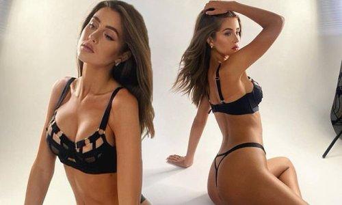 Georgia Steel flaunts her stunning figure in VERY racy black lingerie