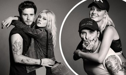 Brooklyn Beckham tenderly places his hands on Nicola Peltz's hips