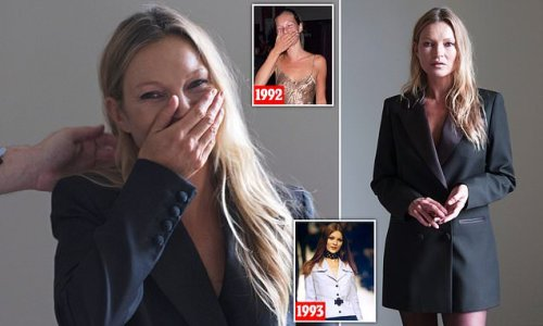 Kate Moss, 47, shares a giggle in rare BTS snap during photoshoot