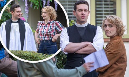 Grantchester's Tom Brittney looks delighted to be filming on set