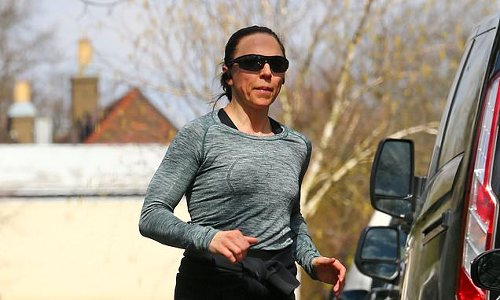 Spice Girl Mel C works up a sweat as she goes for a morning jog