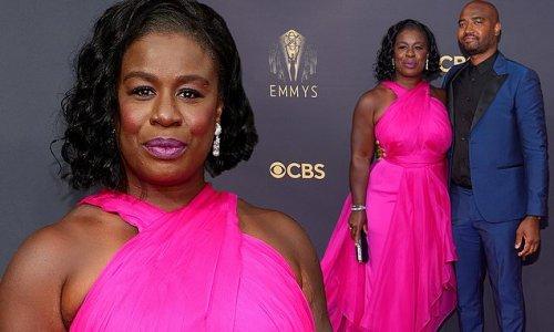 Uzo Aduba stuns in hot pink gown alongside husband at 2021 Emmys