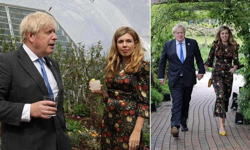 Carrie Johnson dons a floral gown as she arrives at the G7 reception