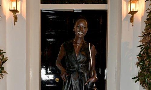 Model Ajak Deng turns stuns in a mini dress at London Fashion Week