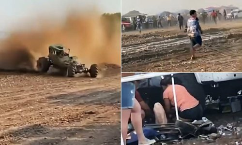 Racecar veers of course and plows into the crowd injuring 29