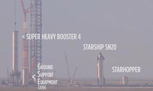 SpaceX's Super Heavy and Starship SN 20 are moved to the launch pad