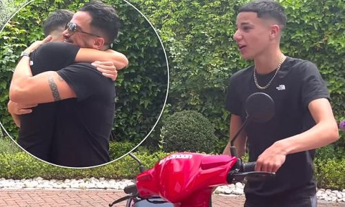 Peter Andre gets emotional as he embraces son Junior