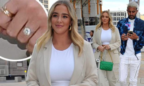 Taylor Ward, 23, flashes her sparkling engagement ring