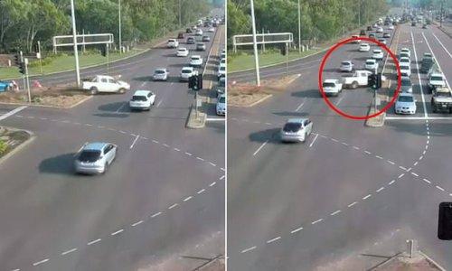Incredible moment ute careers across a seven-lane highway in Darwin