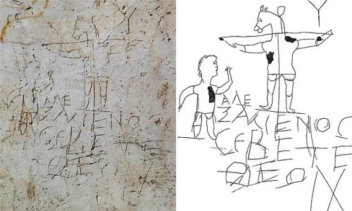 Graffiti carved on an ancient Roman building could be the Crucifixion