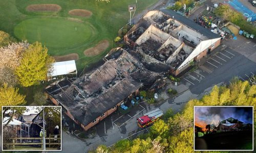 Dramatic images show remains of historic golf club devastated by fire