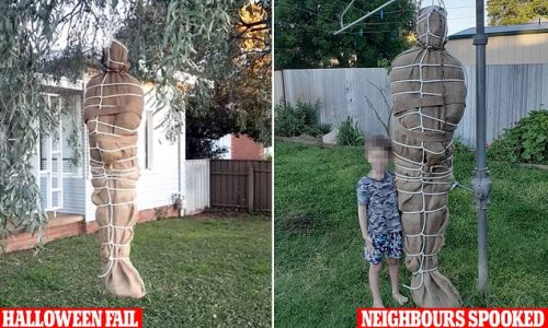 Cops called to mum's house over a disturbing Halloween decoration