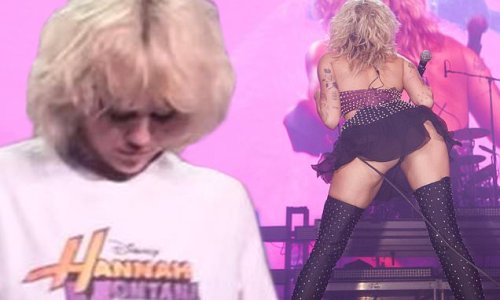 Miley Cyrus wears Hannah Montana tee, flashes derriere during show
