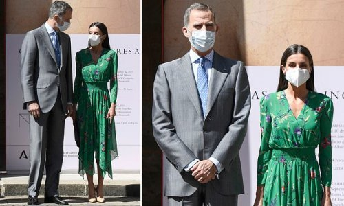 Queen Letizia of Spain stuns in floral emerald dress at art exhibition