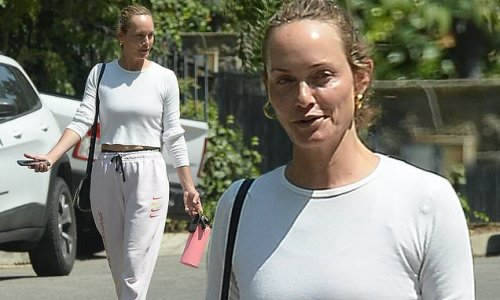 Amber Valletta goes make-up free on her way to the gym in LA