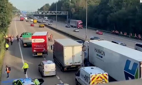 Eco-mob block M25 AGAIN as protesters run on the main carriageway