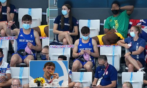 Olympic gold medallist Tom Daley is spotted knitting in the stands