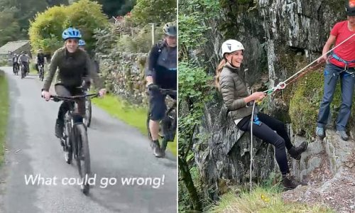 Kate Middleton says 'what could go wrong' as she tries mountain biking