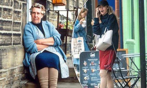 Suki Waterhouse channels Nora Batty as she's spotted in beige leggings