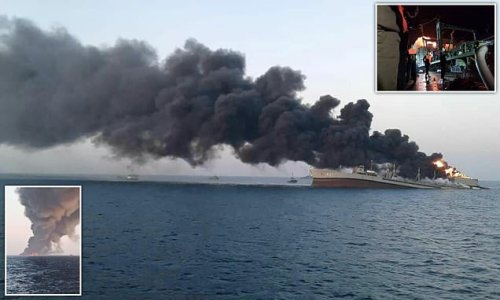 Iranian navy cargo ship SINKS after fire on board