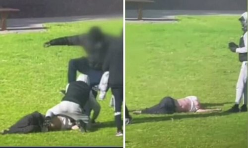Watch the moment a teenage gang brutally attack a blind grandfather