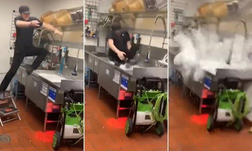 Hilarious video shows Taco Bell worker dive into the sink on last day