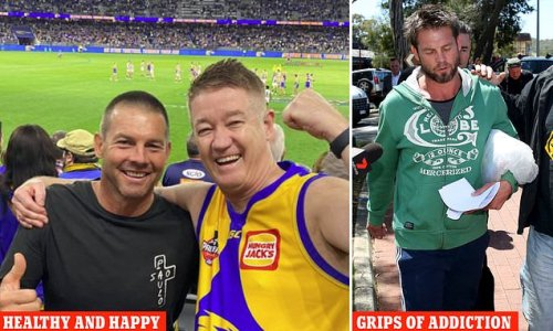 Ben Cousins looks healthy and happy as he poses with fans at the AFL