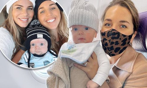 Fiona Falkiner enters hotel quarantine with her son Hunter
