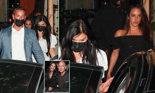 Lauren Sanchez leaves Hollywood restaurant with a friend