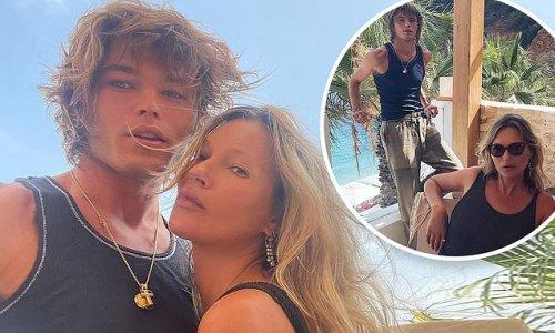 Kate Moss, 47, poses with model Jordan Barrett, 24, in Ibiza