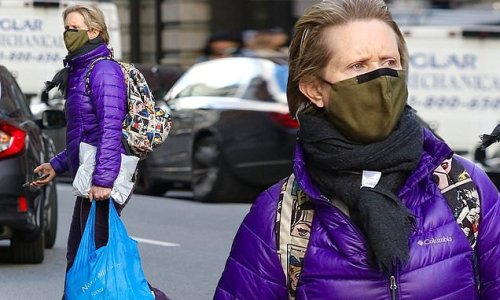 Cynthia Nixon stands out as she shops in purple quilted jacket in NYC