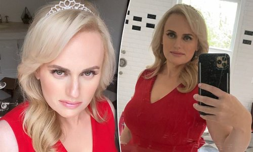 Rebel Wilson looks glamorous in red dress while shooting a commercial