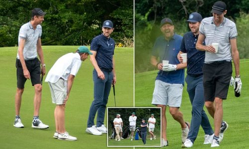 Harry Kane enjoys round of golf with Peter Crouch