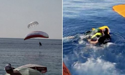 Shocking video captures moment paragliders COLLIDE in mid-air
