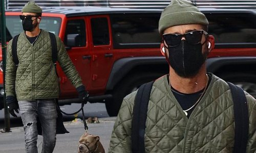 Justin Theroux walks his beloved rescue pup in NYC