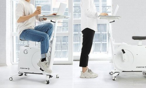 You can now get an exercise bike with a built-in office desk for $249