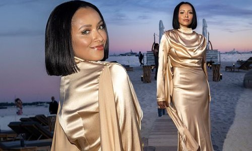 Kat Graham looks chic in a silk dress at the Le Figaro Madame Dinner