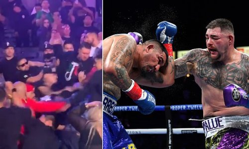 Andy Ruiz's comeback victory marred by huge brawl in the CROWD