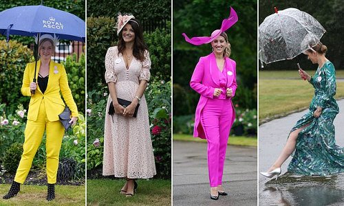 Glamorous Royal Ascot revellers whip out their umbrellas