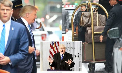 Trump leaves Trump Tower with Gucci shopping bags and luggage