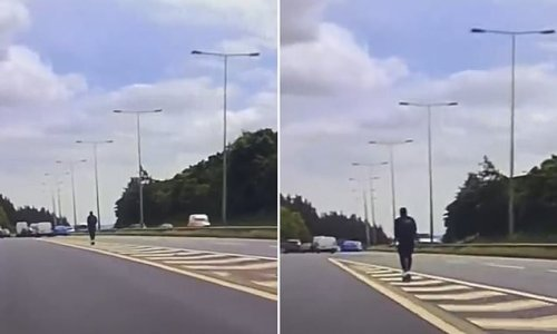 Moment traffic cops spot e-scooter rider as he tries to join MOTORWAY