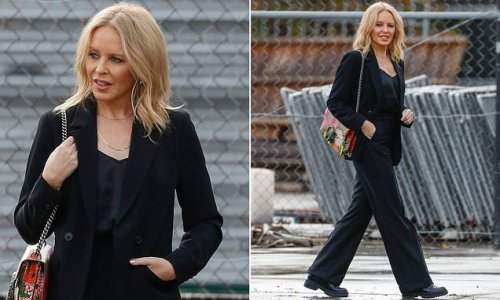 Age-defying Kylie Minogue visits a recording studio in Melbourne