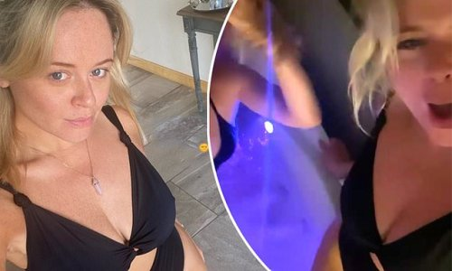 Emily Atack wows in cut-out swimsuit before hitting hot tub on hen do