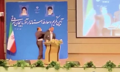 Iranian governor SLAPPED on stage at his own inauguaration