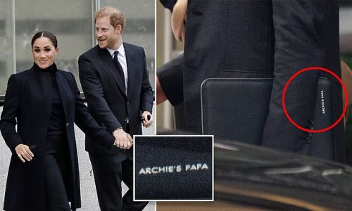 Harry carries laptop bag with 'Archie's papa' embossed on the side